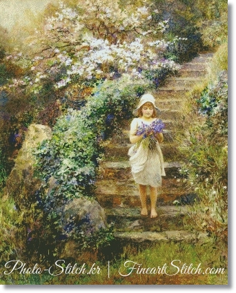 A Young Girl Carrying Violets